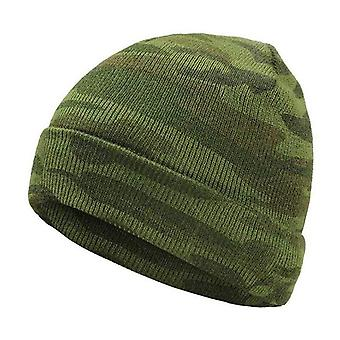 Men's Winter Hat Fashion Camo Knitted Black Hats, Fall Hat Thick And Warm