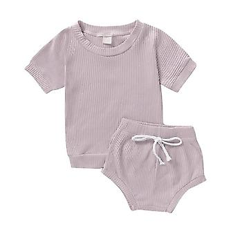 2pcs Fashion Summer Newborn Baby Girls / Boys Clothes, Cotton Casual Short