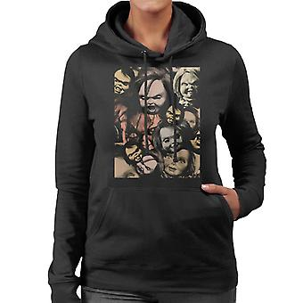 Chucky Scary Face Montage Women's Hooded Sweatshirt
