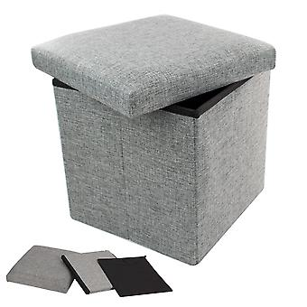 TRIXES Ottoman Storage Box Stool Storage Box with Lid Cube Storage Colour Grey