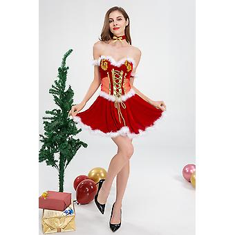 Christmas Costume Perspective Red Adult Women Sexy Prom Party