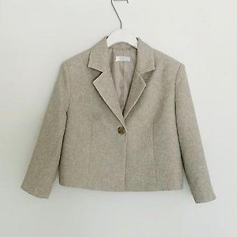 Blazer & Skirt Suits, Full Sleeve Short Blazer Coat + Slim High Waist Skirts,