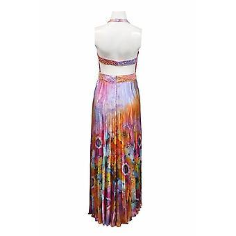 שמלת שיפון עם קפל אקורדיון מודפסת