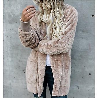 Tekoturkis nalle takki avoin stitch talvi hupullinen