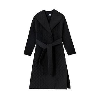 Autumn/winter Argyle Long Thin Parkas Double-breasted Belt Coat