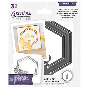Gemini Foil Stamp 'N' Cut Die Elements Butterfly and Blooms Frame