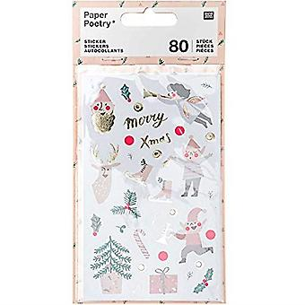 Christmas Stickers x 80 Jolly Pastel Assorted Design Xmas Craft