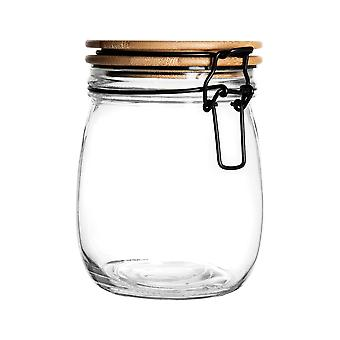 Airtight Storage Jar with Wooden Lid - Round Scandinavian Style Glass Canister - Black Seal - 750ml