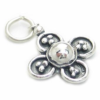 VierBlättrige Glücksklee Sterling Silber Charm .925 X 1 Glücksbringer - 3742
