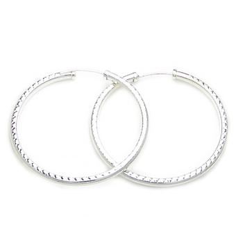45mm Sterling Silver Diamond Cut Hoop Brincos .925 X 1 Par de Aros