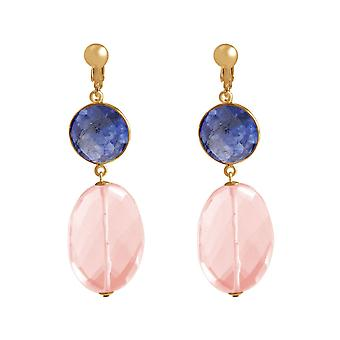 Gemshine ear clips deep blue sapphires and rose quartz, 925 silver or gold plated