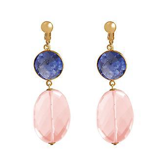Clip auricolari Gemshine zaffiri blu intenso e quarzo rosa, placcato argento o oro 925