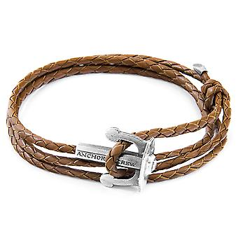 ANCHOR & CREW Union Anchor Silver and Braided Leather Bracelet