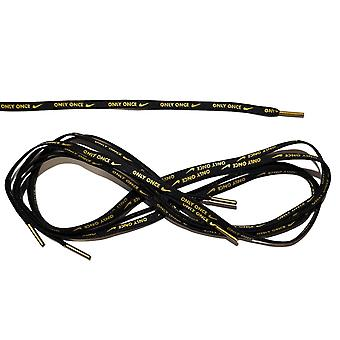 Shoe Laces (Black with Gold) With Nike Logo Unisex