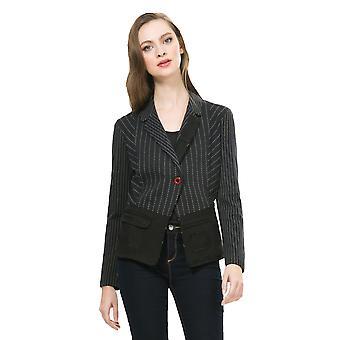Desigual Women's Black Striped Delmiro Blazer
