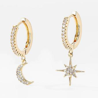 Gold Moon Star Dangle Earrings with Encrusted Crystals