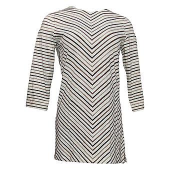 Denim & Co. Women's Top XXS 3/4 Sleeve Striped Round Neck Tunic White A344885