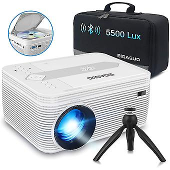 Mini Bluetooth Projector with DVD Player, 5500 Lumens Portable Video Projector