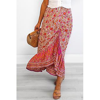 Κόκκινο floral μοτίβο μιλώντας όμορφη φούστα Boho Maxi