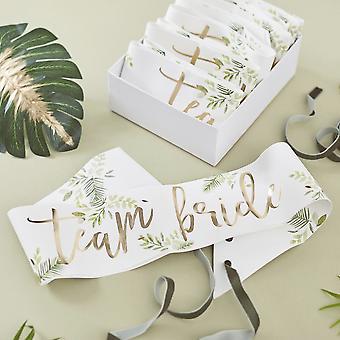 Botanische Team Braut Henne Papier Party Schärpen x 6