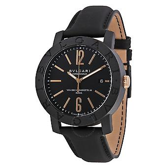 Bvlgari Bvlgari Black Dial Leather Strap Automatic Men's Watch BBP40BCGLD