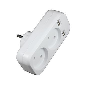 Eu Plug Power Strip Adapter Wall Double Socket Portable 2 Usb Mobile Phones