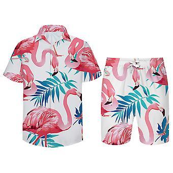 Allthemen Men's rose Flamingo Print Beach Shorts Beach Chemise à manches courtes 2 Pcs