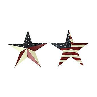 Pair of 16.75 Inch Patriotic American Flag Design Barn Stars  Indoor/Outdoor Wall Hangings