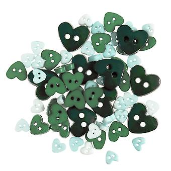 LAST FEW - 2.5g Green Mini Hearts Buttons for Sewing and Haberdashery