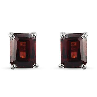 TJC Garnet Stud Earrings Platinum Plated Silver Gift for Her 2ct