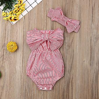 Newborn Clothes Off Shoulder Bowknot Striped Bodysuit Set