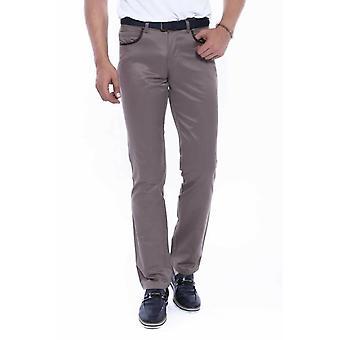 Brown slim-fit cotton pants