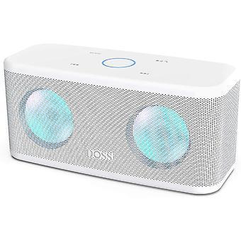 Doss Bluetooth reproduktor, bezdrôtový reproduktor, dotykové ovládanie, HD zvuk a výkonné basy, hands-free, 20 hodín prehrávania, reproduktory pre telefón, tablet a TV (biela)