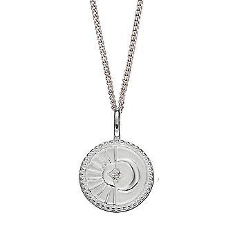 Anfänge 925 Sterling Silber Womens klar Zirkonia Sonne & Halbmond himmlische Runde Scheibe Anhänger Halskette Länge 41cm + 5cm