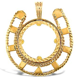 Jewelco Londyn Solid 9ct Yellow Gold Lucky Horse Shoe Frame Half Sovereign Coin Mount Wisiorek