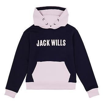 Jack Wills Kids Girls Cropped Colour Block Hoodie