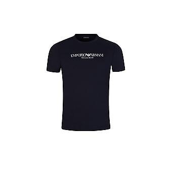Emporio Armani Cotton Printed Logo Navy T-shirt