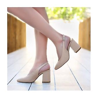 Skin Color 7 cm Thick Heeled Shoes Leather MA-028