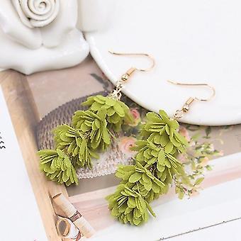 Pendientes largos únicos con borlas de cifrado como flores