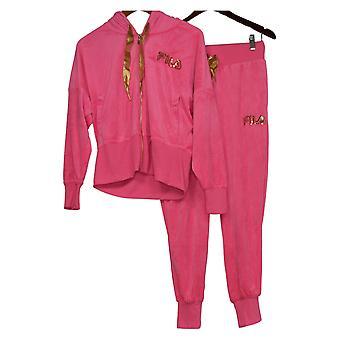 FILA Conjunto de Mujeres Reg 2 piezas Velour Hoodie and Jogger Pant Pink 745796