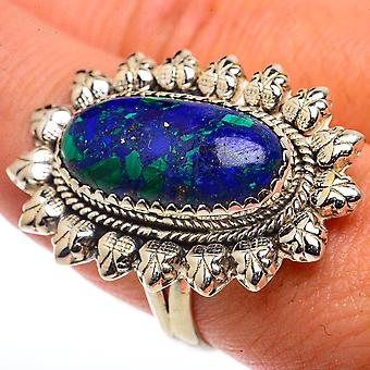 Large Azurite Ring Size 9.5 (925 Sterling Silver)  - Handmade Boho Vintage Jewelry RING66727