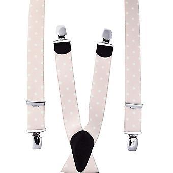 Ties Planet Blush &White Polka Dot Men's Trouser Braces