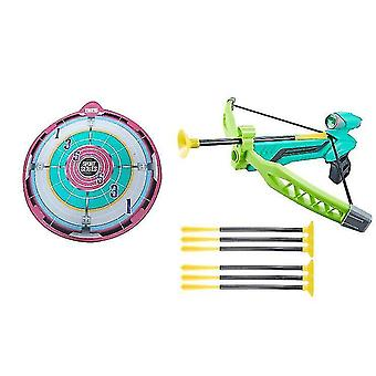 Children's Toy Bow And Arrow, Archery Game, With Target And 6 Suction Cup Arrows(Green)