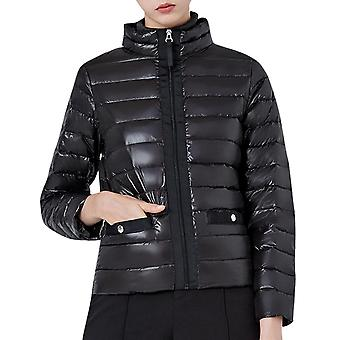Women's Solid Color Stand-up Collar Slim Zipper Cotton Padded Jacket