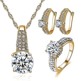 Wedding Jewelry Necklace Earrings Ring Set(Gold)
