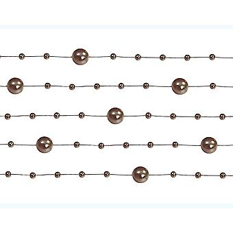 5 Brown 1.3m Pearl Bead Garlands for Crafts & Floristry