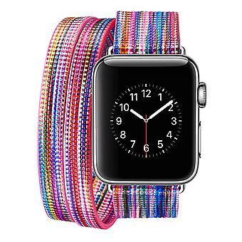 Farverigt læderremurbånd til Apple Watch Series1 Series2 Serie3 Serie4 B COLOR