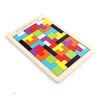 Children Wooden building Blocks, Tetris Tangram Colorful Jigsaw Game