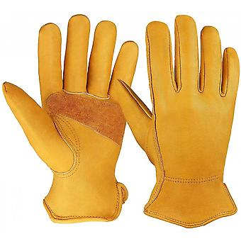 Leather Work Gloves Stretchable Wrist Tough Cowhide  1 Pair (gold)