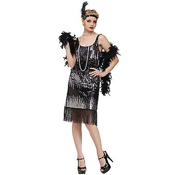 Jazz Baby Flapper 20s Black Sequin Women Costume